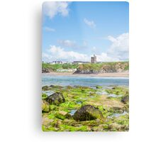 seaweed covered rocks with castle and beach Metal Print
