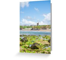 seaweed covered rocks with castle and beach Greeting Card
