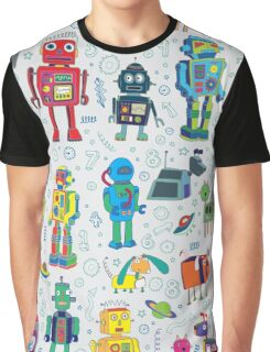 Robots in Space - grey Graphic T-Shirt