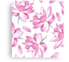 Watercolor lotus pattern Canvas Print