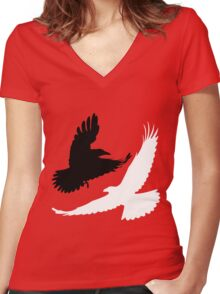 Black Crow, White Raven. Women's Fitted V-Neck T-Shirt