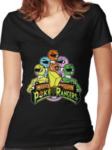 Poke Rangers Women's Fitted V-Neck T-Shirt