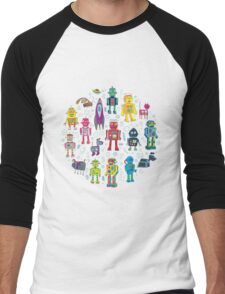 Robots in Space - grey Men's Baseball ¾ T-Shirt