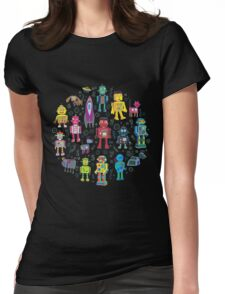 Robots in Space - grey Womens Fitted T-Shirt