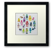 Robots in Space - grey Framed Print
