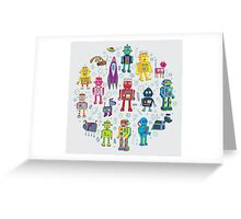 Robots in Space - grey Greeting Card