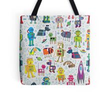 Robots in Space - grey Tote Bag