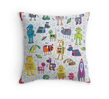 Robots in Space - grey Throw Pillow