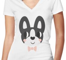 Boston Terrier With A Bow Tie Women's Fitted V-Neck T-Shirt