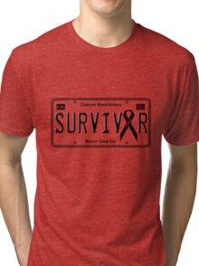 Cancer Survivor License Plate Shirt (Pink) Tri-blend T-Shirt