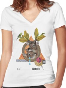 Animal Collection -- Oh Deer Women's Fitted V-Neck T-Shirt