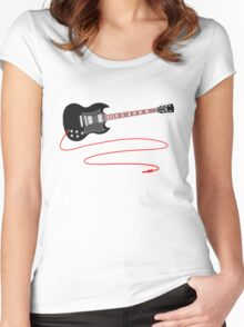 Solid Guitar - Black Women's Fitted Scoop T-Shirt