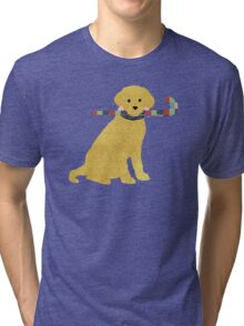Yellow Lab Retriever Field Hockey Dog Tri-blend T-Shirt