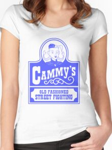 Cammy's Old Fashioned Street Fighting BLUE STENCIL Women's Fitted Scoop T-Shirt