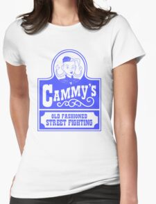Cammy's Old Fashioned Street Fighting BLUE STENCIL Womens Fitted T-Shirt