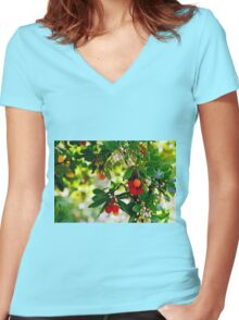 Bright and Beautiful Berries Women's Fitted V-Neck T-Shirt
