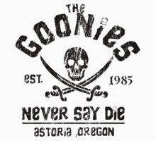 The Goonies - Naver Say Die - Black on White Kids Tee