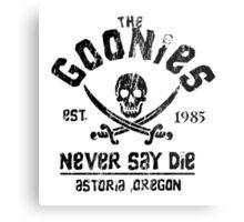 The Goonies - Naver Say Die - Black on White Metal Print