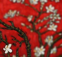 Van Gogh Red Almond Blossoms Tilt Shift Sticker