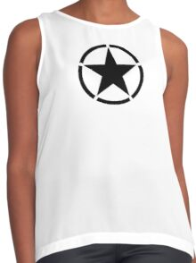 ARMY, Army Star & Circle, Jeep, War, WWII, America, American, USA, in Black Contrast Tank