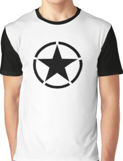 ARMY, Army Star & Circle, Jeep, War, WWII, America, American, USA, in Black Graphic T-Shirt