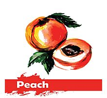 fruit peach,Hand drawn watercolor  Photographic Print