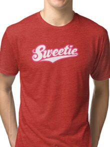 GenuineTee - Sweetie (white/pink) Tri-blend T-Shirt