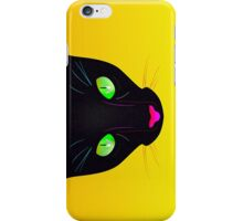 Black Cat with Green Fluorescent Eyes - Illustration iPhone Case/Skin