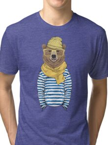 Funny bear dressed up in frock Tri-blend T-Shirt