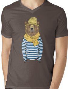 Funny bear dressed up in frock Mens V-Neck T-Shirt