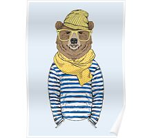 Funny bear dressed up in frock Poster