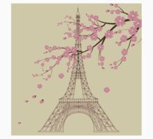 Paris,vintage,shabby chic,elegant,chic,romantic,Eiffel tower,spring blossom,sakura,modern,trendy,girly One Piece - Short Sleeve