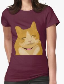 Cute Furry Brown Cat Smiling  Womens Fitted T-Shirt
