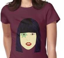 Pop Art Portrait of an Asian Looking Girl with Blue Hair Womens Fitted T-Shirt
