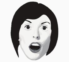 Portrait of a Woman's Surprised Face in Black and White Kids Clothes