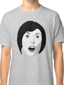 Portrait of a Woman's Surprised Face in Black and White Classic T-Shirt