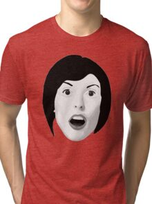 Portrait of a Woman's Surprised Face in Black and White Tri-blend T-Shirt