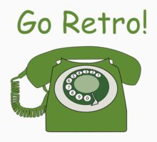 Retro Style Green Dial Phone, with the Words 'Go Retro!' Kids Clothes