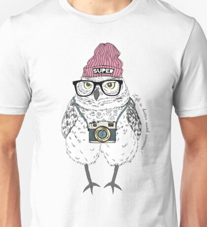 Owl hipster with photo camera Unisex T-Shirt