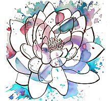 "Watercolor Lotus ""OM"" Photographic Print"