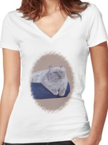 Bayou - A Portrait of a Himalayan Cat  Women's Fitted V-Neck T-Shirt