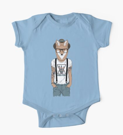 Fox hipster with tattoo One Piece - Short Sleeve