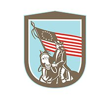 American Revolutionary Serviceman Horse Flag Retro by patrimonio