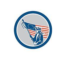 American Serviceman Soldier Flag Circle Retro by patrimonio