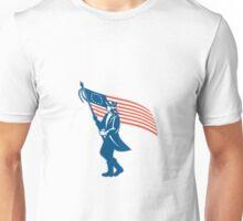 American Serviceman Soldier Waving Flag Retro Unisex T-Shirt