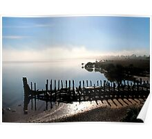 Port Augusta - Old Barge and Foggy Morning Poster