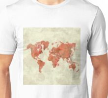 World Map Red Unisex T-Shirt