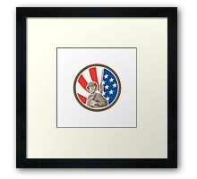 American Soldier Serviceman Bayonet Circle Retro Framed Print