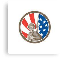 American Soldier Serviceman Bayonet Circle Retro Canvas Print