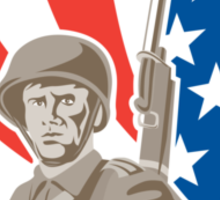 American Soldier Serviceman Bayonet Circle Retro Sticker